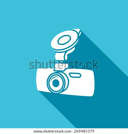 Car digital video recorder icon - white car DVR symbol - stock photo
