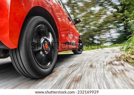 Car driving in the curve  - stock photo