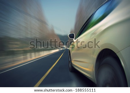 Car driving on the highway