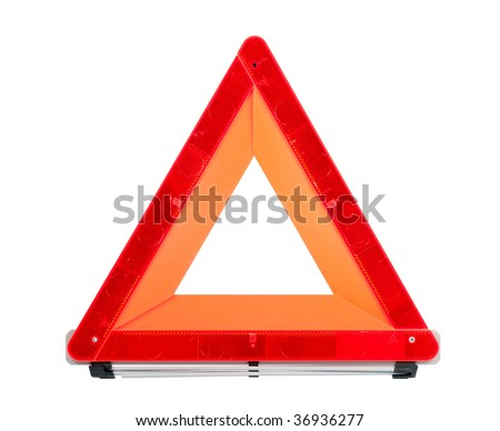 Car emergency sign isolated with clipping path over white