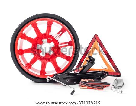Car emergency tools kit isolated on white - stock photo