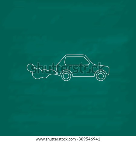 Car emits carbon dioxide. Outline icon. Imitation draw with white chalk on green chalkboard. Flat Pictogram and School board background. Illustration symbol - stock photo