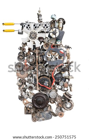 Car engine and spare part set in unusual location. - stock photo