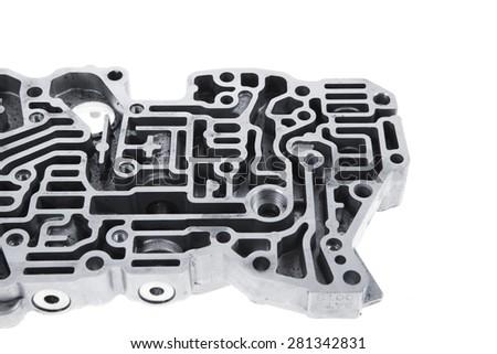 car engine : automatic transmission control center variator gearbox valve body brain - stock photo