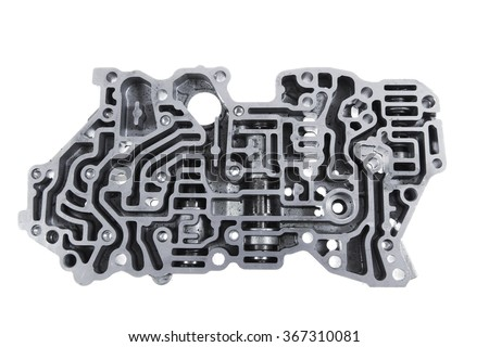 car engine : automatic transmission control center variator gearbox valve body brain - stock photo