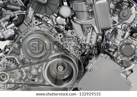 car engine belt and gears detail - stock photo