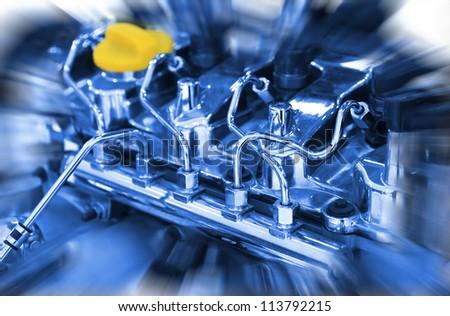 Car engine close up - stock photo