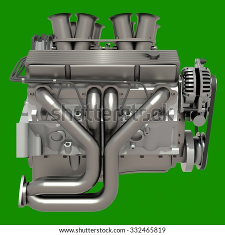 Car engine. Concept of modern car engine isolated on green background