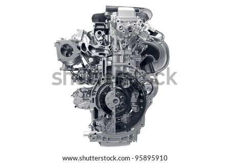 Car engine. Concept of modern car engine isolated on white background. - stock photo