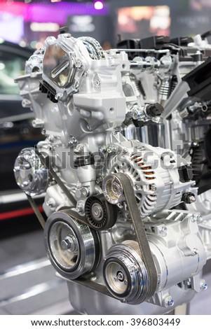 Car engine. Concept of modern car engine selective focus - stock photo