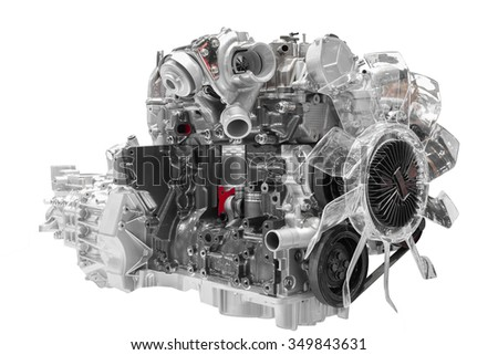 Car engine cross cut of concept car isolated on white background with clipping path - stock photo