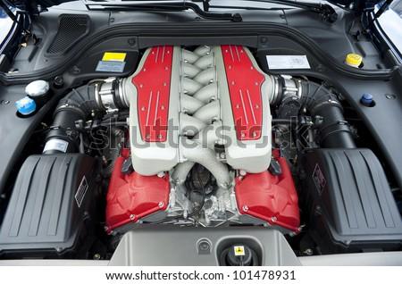 Car engine, 12 cylinder - stock photo