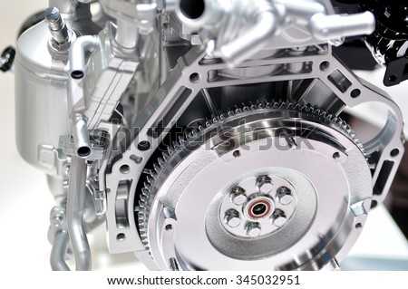 Car engine flywheel. - stock photo