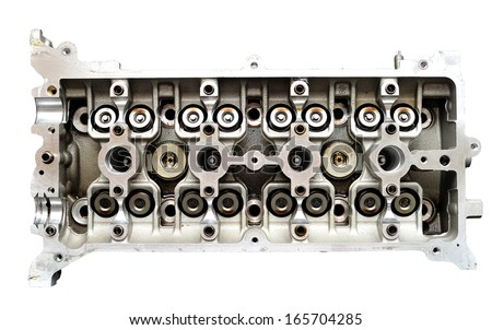 Car engine head top view isolated on white background. - stock photo