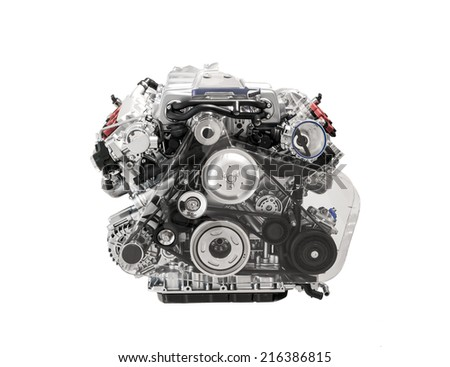 Car engine isolated on white - stock photo