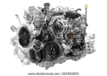 Car engine isolated on white background with clipping path - stock photo