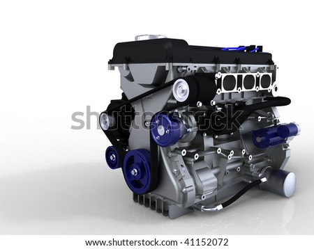 Car engine isolated on white with ground reflection - stock photo