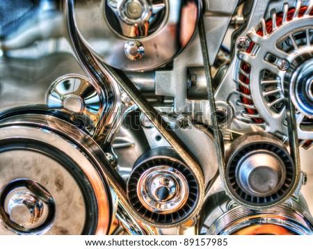 car engine macro - car motor close up - stock photo