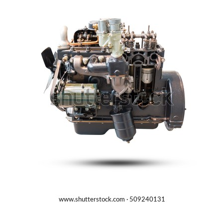 Car engine part isolated on white background. Object with clipping path.