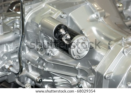 car engine part macro shot - stock photo