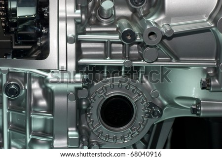 car engine part macro shot - stock photo