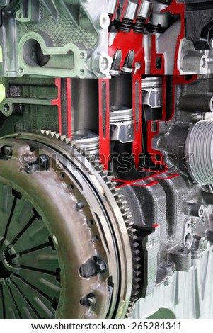 car engine pistons and valves close up - stock photo