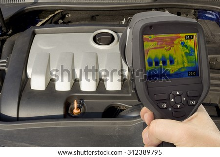 Car Engine Thermal Imaging Infrared - stock photo