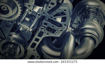 Car engine v8. close up abstact backround. High resolution 3D - stock photo