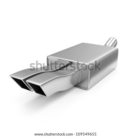 Car Exhaust Pipe isolated on white background - stock photo