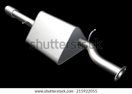 Car exhaust silencer. isolated on black background. 3d - stock photo