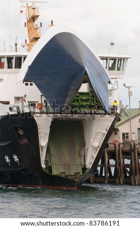 Car ferry getting ready to unload - stock photo