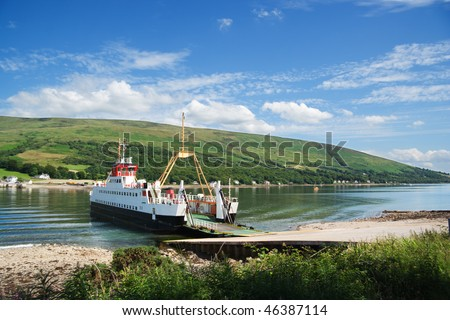 Car ferry on the Kyles of Bute, Scotland - stock photo
