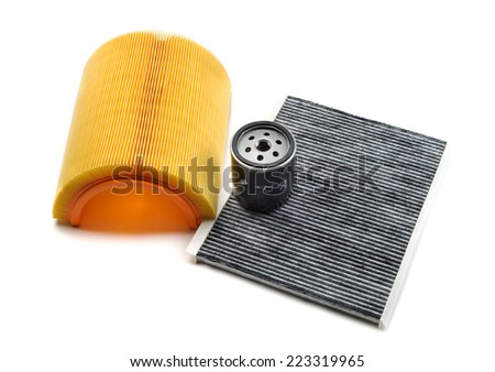 Car filters set. Motor filter, cabin filter and oil filter. Isolate - stock photo