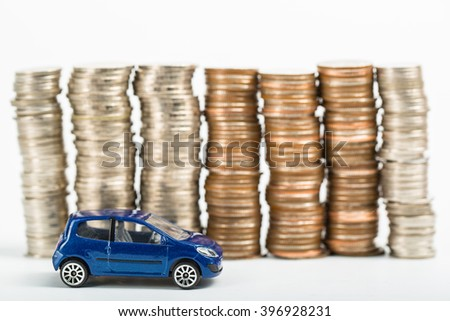 Car finance money stack with white background. - stock photo