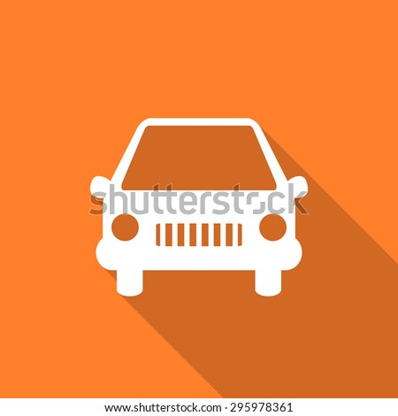 car flat design modern icon with long shadow for web and mobile app  - stock photo