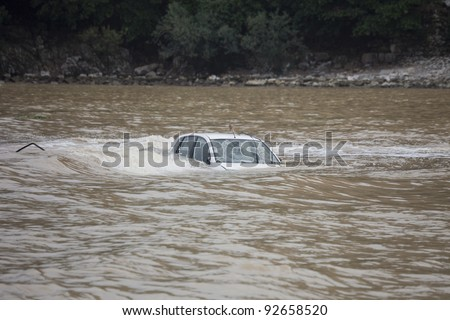 Car flooded in the Ocean - Flood Disaster in Olympos, Turkey, Asia - stock photo