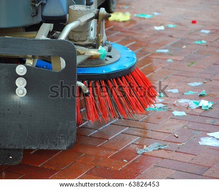 car for cleaning and dust sweeping to stone bridge barcelona - stock photo