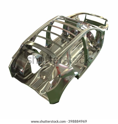 Car frame in steel. Model for Productions, on a white background. 3d illustration