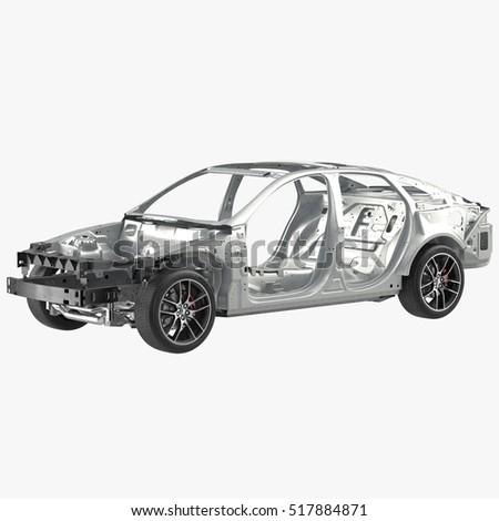 Car Frame Chassis On White 3 D Stock Illustration 517884871 ...
