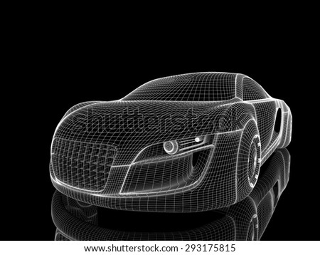 Car from the future isolated background 3D rendering - stock photo