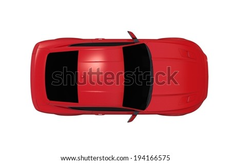 Car From Top Isolated on White Background. Red Sports Car. - stock photo