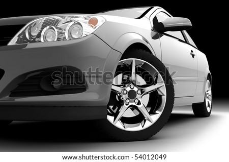 Car front bumper, light and wheel on black. Detail