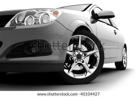 Car front bumper, light and wheel on white. Detail - stock photo