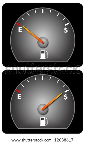 Car fuel gauge with dollar symbol and two versions showing full and empty