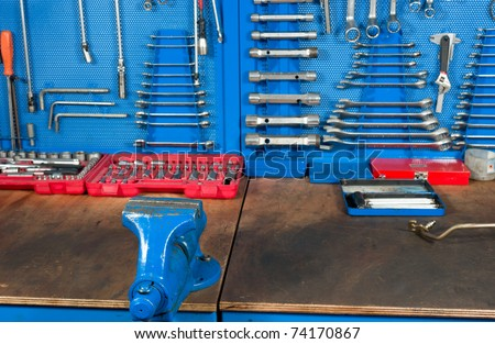 Car Garage Work Bench With Well Organized Tools