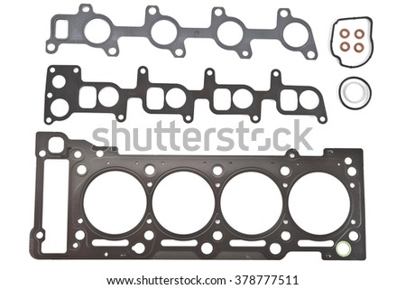 Car Gasket Set, cylinder head Separated on white background. Auto Spare parts