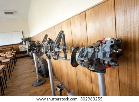 "Car gearbox is seen half opened in the specially equipped classroom for engineering students at ""Makgahan"" transport school, Sofia, Bulgaria, May 09, 2015. - stock photo"