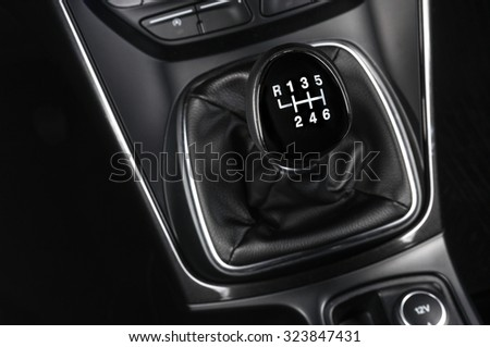 Car gearbox lever - stock photo