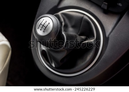 Car gearbox lever; Manual transmission - stock photo