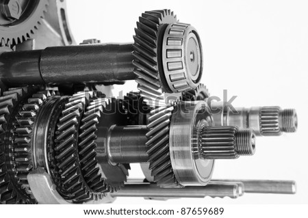car gearbox on isolated white background - stock photo